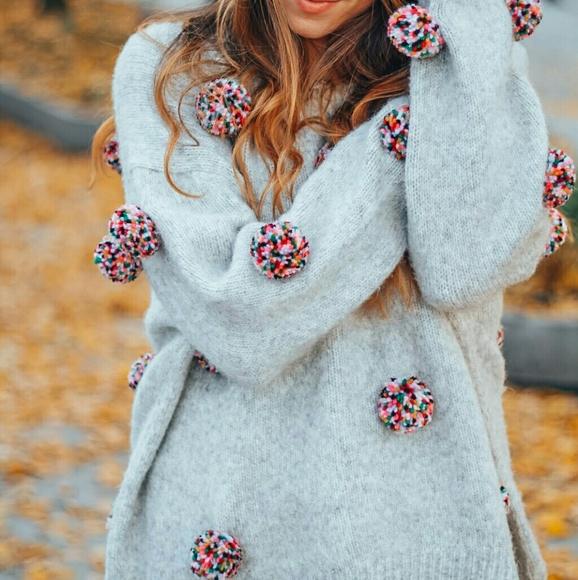 5a133591a9 Zara pom pom sweater knit rainbow. M 5aa3146fa825a60da4a340d3